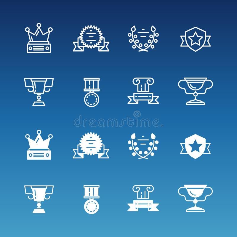 Trofén värderar högt, fodrar skisserar utmärkelser och symbolssamlingen vektor illustrationer