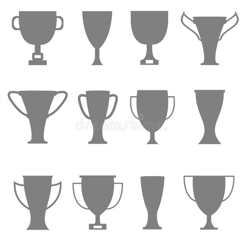 Trofésymbolsuppsättning royaltyfri illustrationer