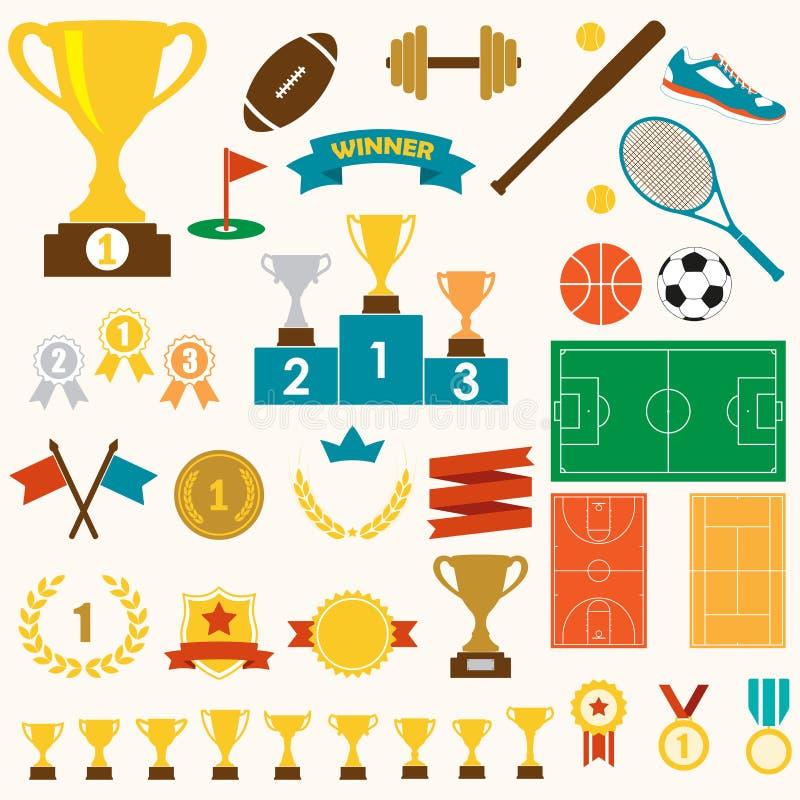 Troféu, concessões e ícone dos esportes ajustado: copo de vencimento do troféu, medalhas, suporte, bandeiras, fitas, bolas, campo ilustração royalty free