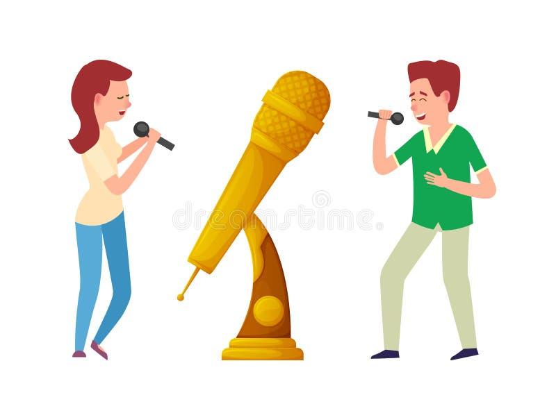 Troféu da música, microfone da concessão do ouro e cantores ilustração stock