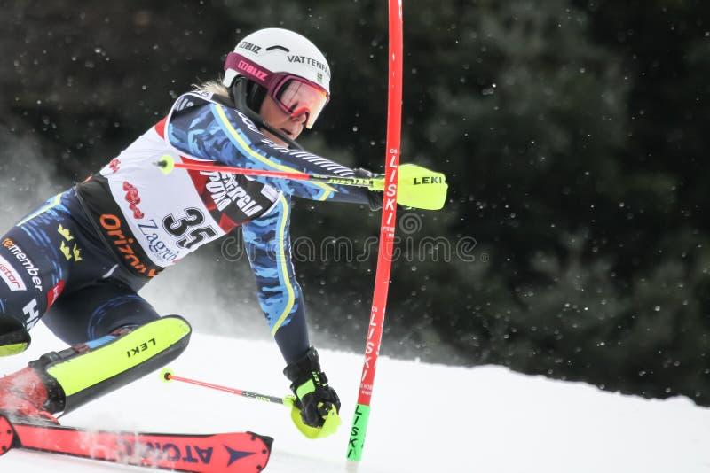 Troféu 2019 da rainha da neve - slalom das senhoras fotografia de stock