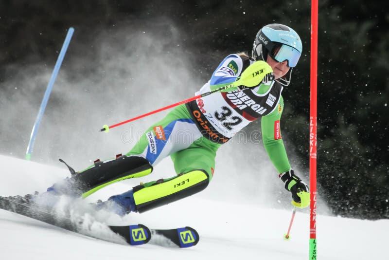 Troféu 2019 da rainha da neve - slalom das senhoras imagens de stock