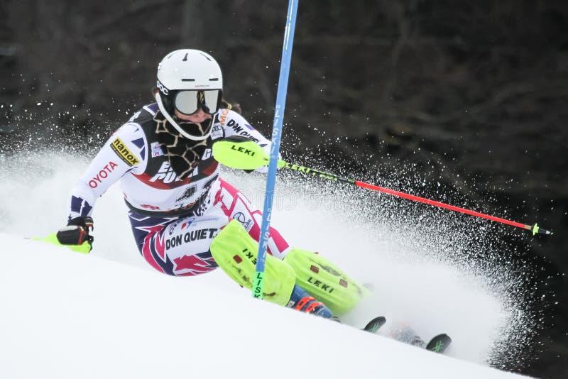 Troféu 2019 da rainha da neve - slalom das senhoras foto de stock