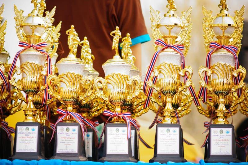 Troféu do campeonato dos motorcross em Tailândia imagem de stock royalty free