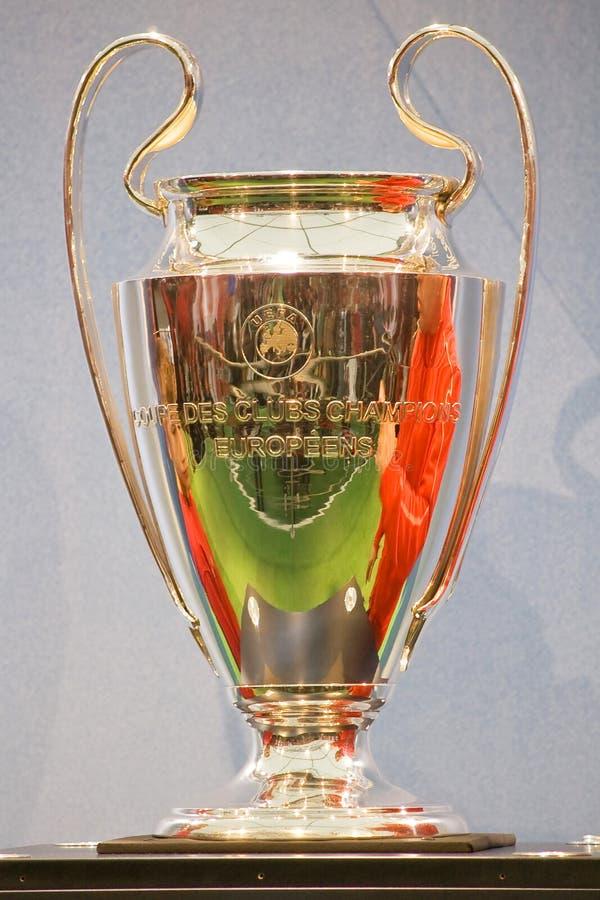 Troféu do copo da Champions League do UEFA fotos de stock royalty free