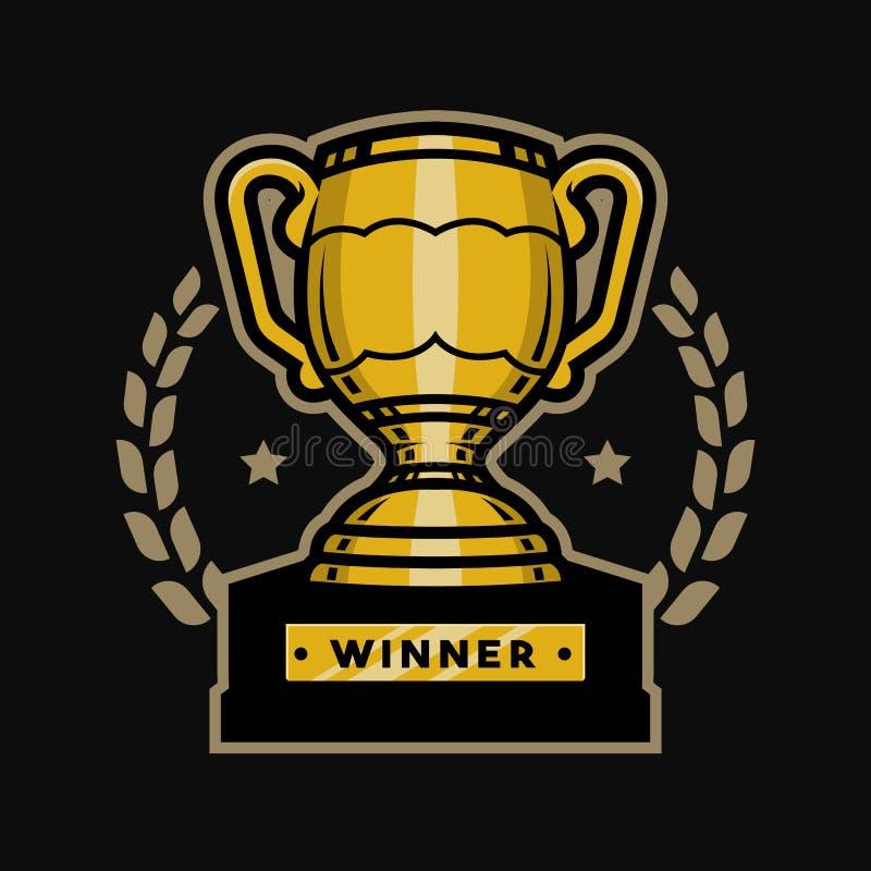 Troféu do copo do ouro Emblema, logotipo ilustração royalty free