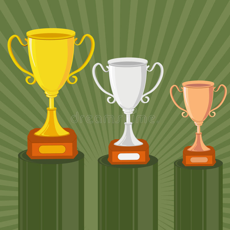 Troféu do ouro, da prata e do bronze ilustração do vetor
