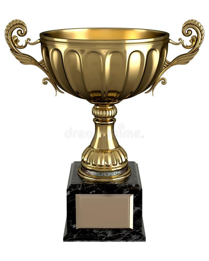 Troféu dourado brilhante bonito ilustração stock