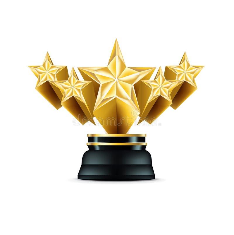 Troféu dourado de cinco estrelas isolado no branco ilustração do vetor