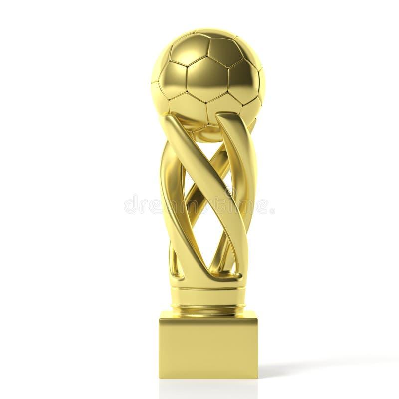 Troféu dourado do futebol do futebol isolado no fundo branco ilustração 3D ilustração stock