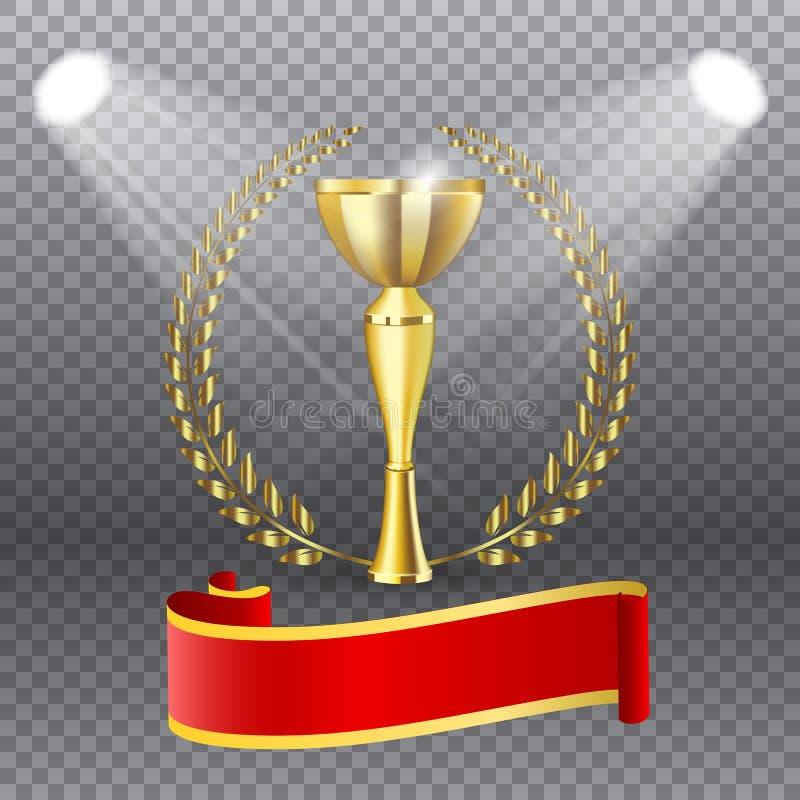 Troféu dourado realístico com ouro Laurel Wreath, ilustração do vetor ilustração royalty free