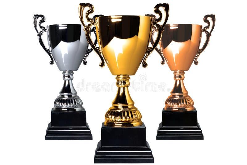 Troféus da prata e do bronze do ouro fotografia de stock