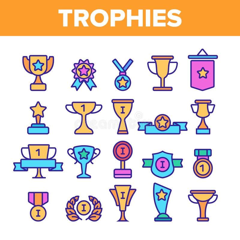 Troféus e medalhas para o grupo linear dos ícones do primeiro vetor do lugar ilustração stock