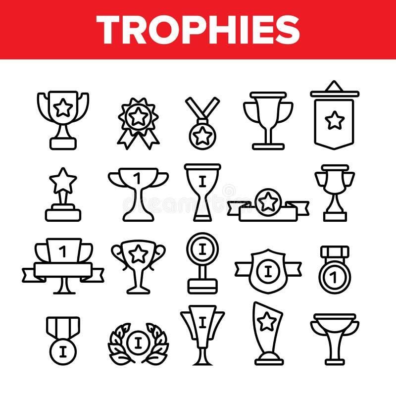 Troféus e medalhas para o grupo linear dos ícones do primeiro vetor do lugar ilustração do vetor