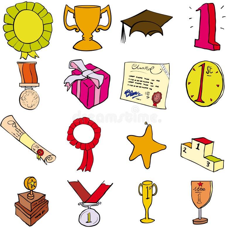 Trofeeën enz. vector illustratie