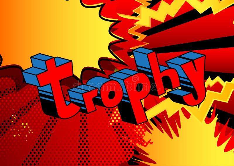 Trofee - de Vector geïllustreerde grappige uitdrukking van de boekstijl vector illustratie