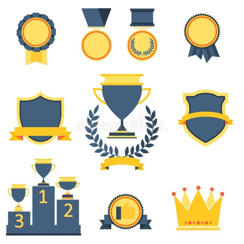 Trofee en toekennings geplaatste pictogrammen royalty-vrije illustratie