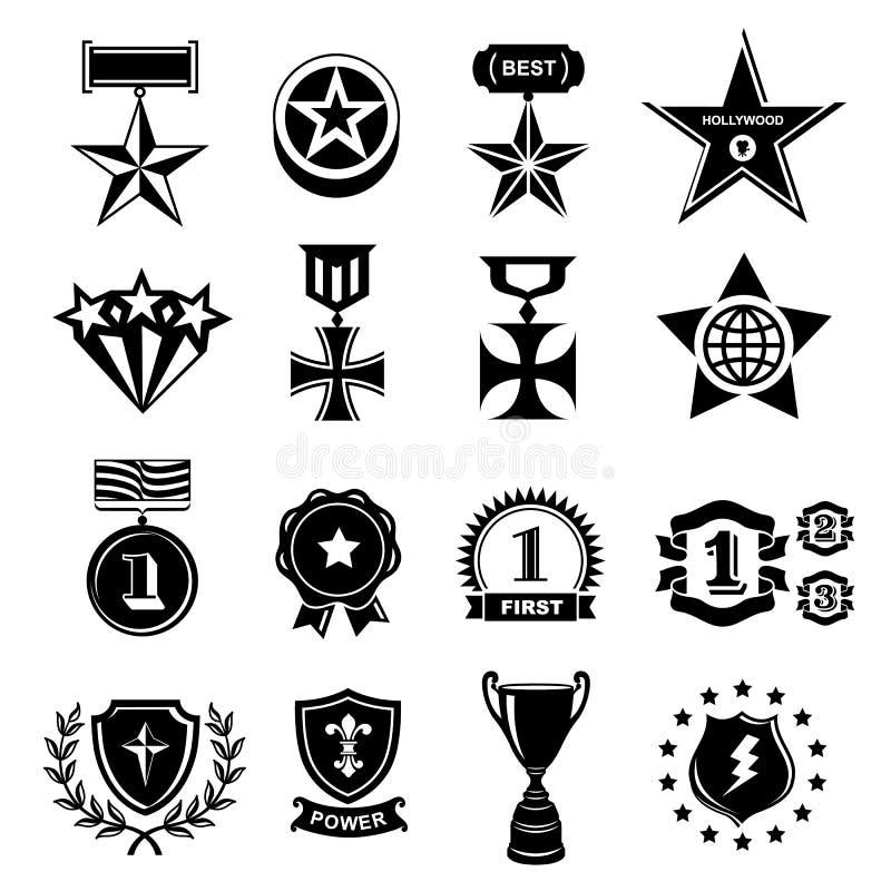 Trofee en toekennings geplaatste pictogrammen stock illustratie