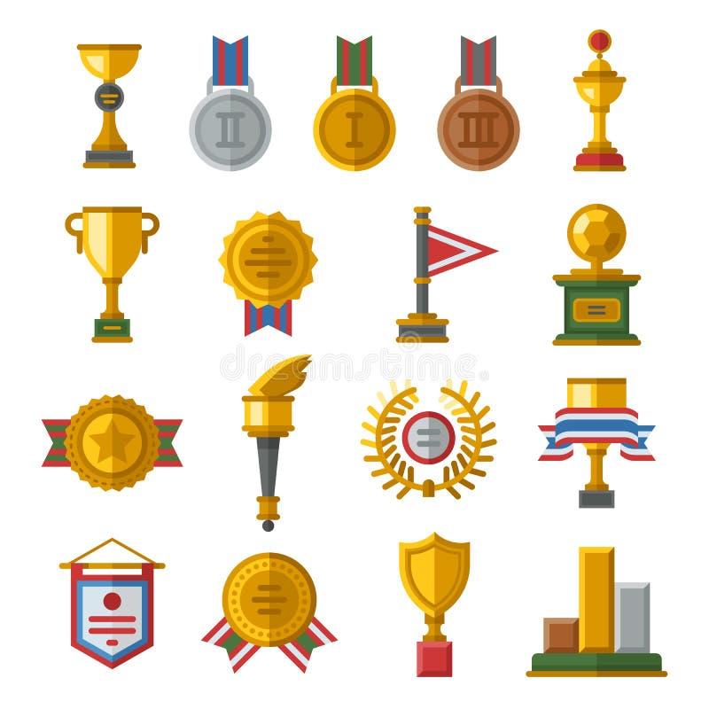 Trofee en toekennings geplaatste pictogrammen vector illustratie