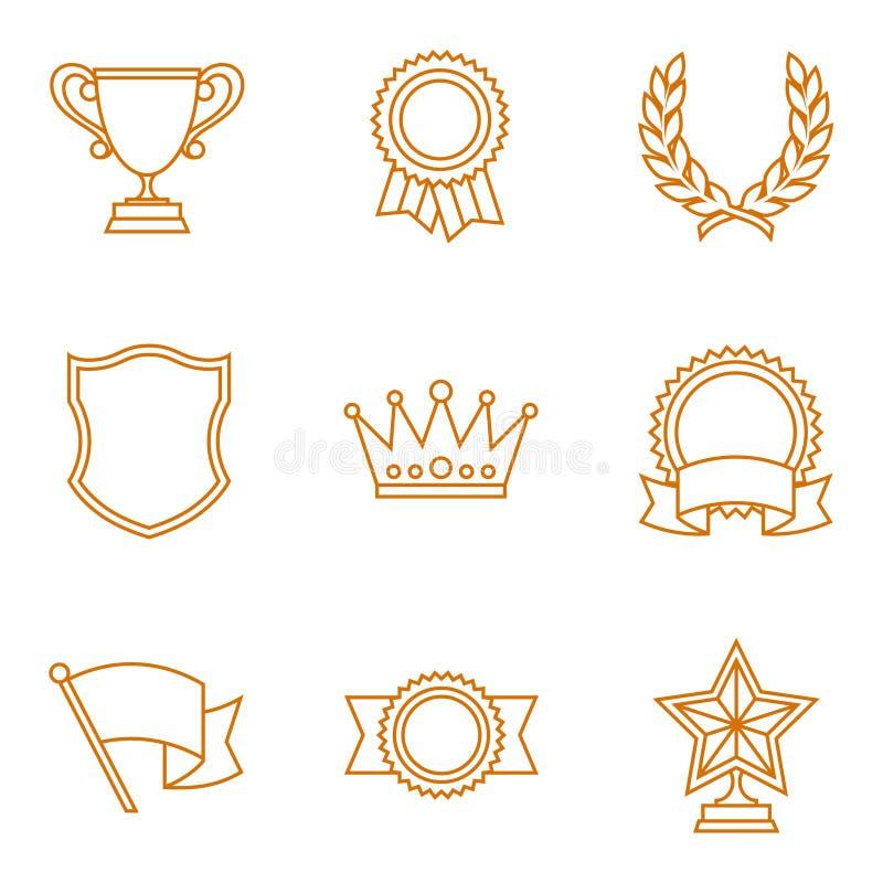 Trofee en toekenningspictogrammen in lineaire stijl worden geplaatst die stock illustratie