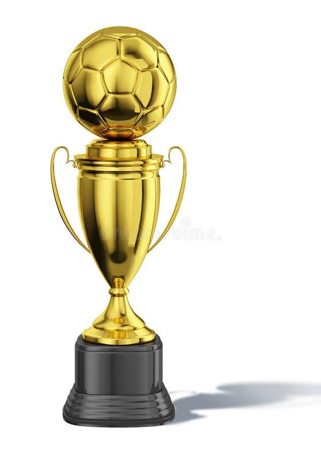Trofee gouden kop met een voetbalbal bij de bovenkant. stock illustratie