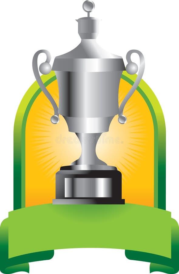 Trofee in groene banner stock illustratie