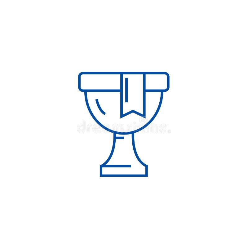 Trofee, het concept van het de lijnpictogram van de winnaarkop Trofee, het vlakke vectorsymbool van de winnaarkop, teken, overzic royalty-vrije illustratie
