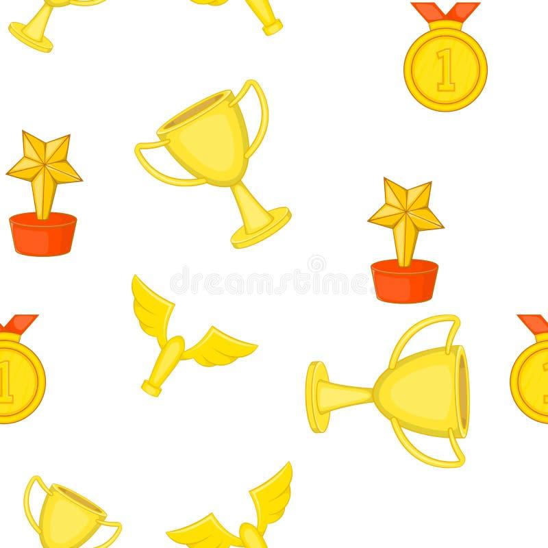 Trofee, medailles en toekenningspatroon, beeldverhaalstijl royalty-vrije illustratie