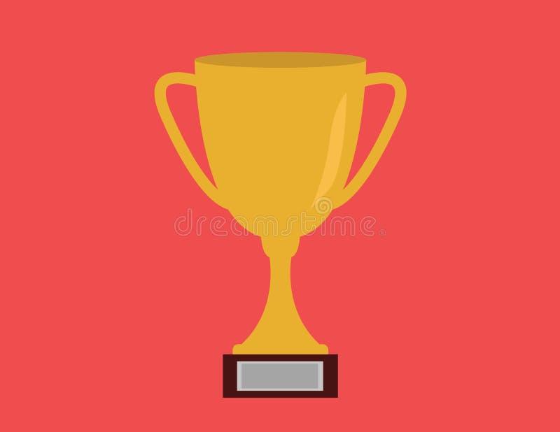 Trofee voor Kampioen op rode achtergrond stock foto