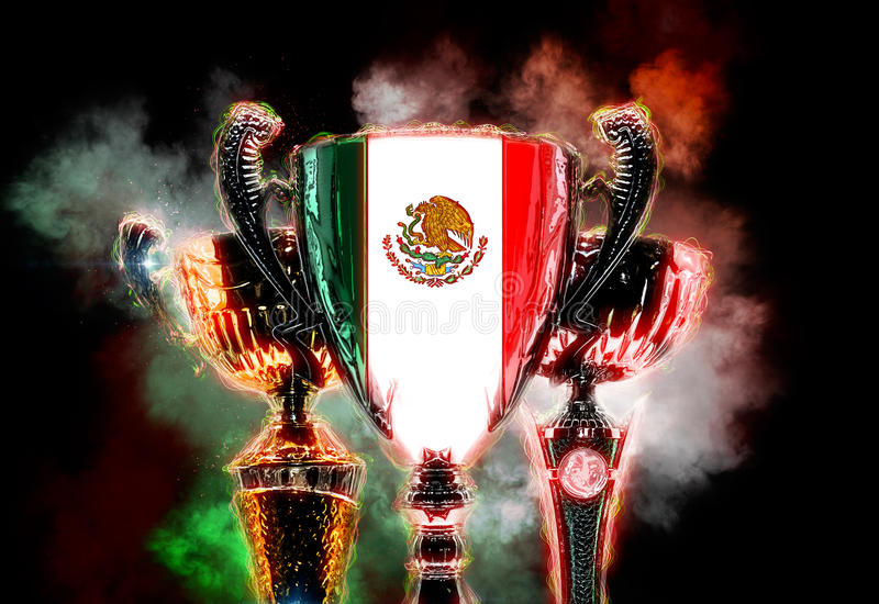 Trofeekop geweven met vlag van Mexico 2D Digitale illustratie royalty-vrije illustratie