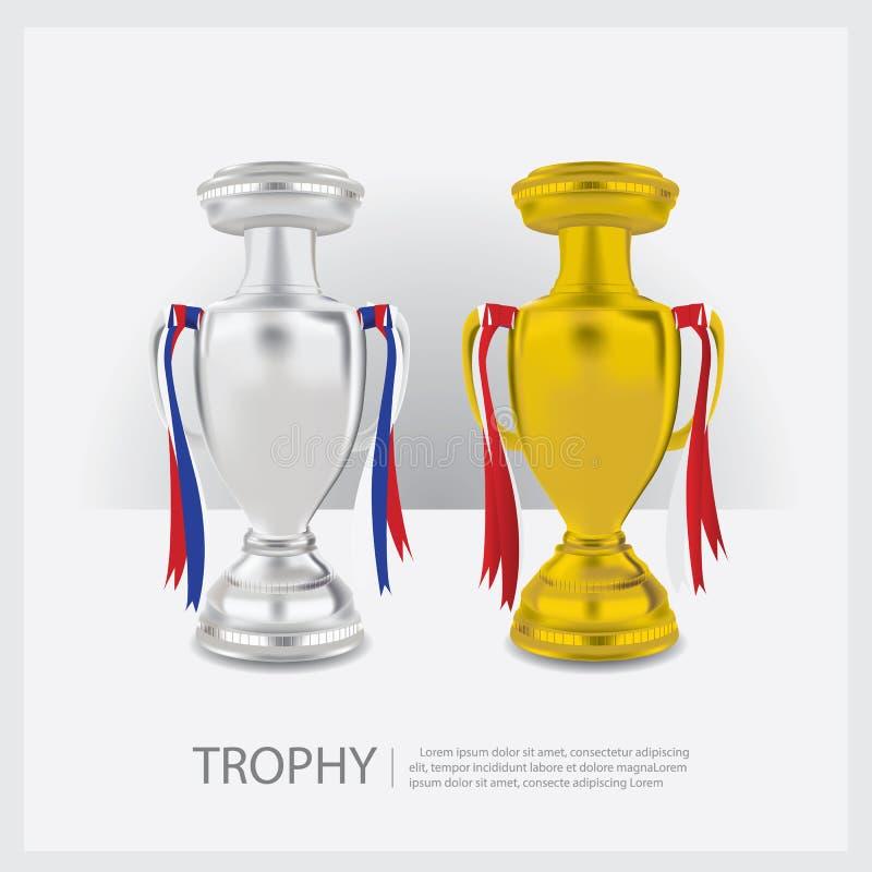 Trofeekoppen en Toekenning royalty-vrije illustratie