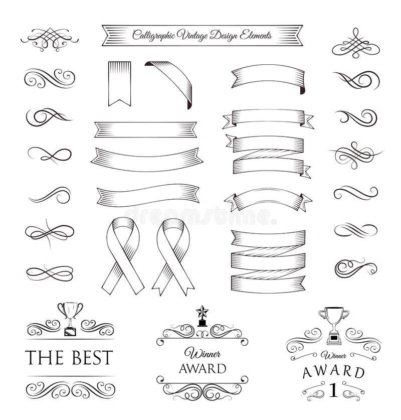 Trofeereeks Linten, medailles, toekennings, koppen en bannersinzameling Vector illustratie op witte achtergrond vector illustratie