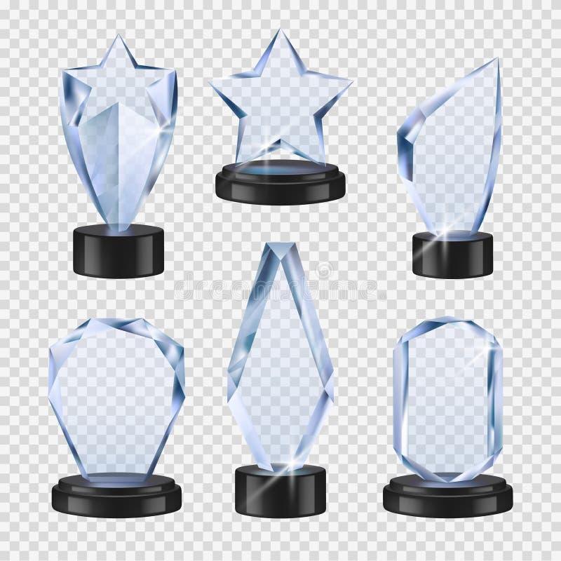 Trofei trasparenti Raccolta di vetro realistica dei trofei del vincitore delle tazze dei premi di evento di vettore a cristallo d illustrazione vettoriale
