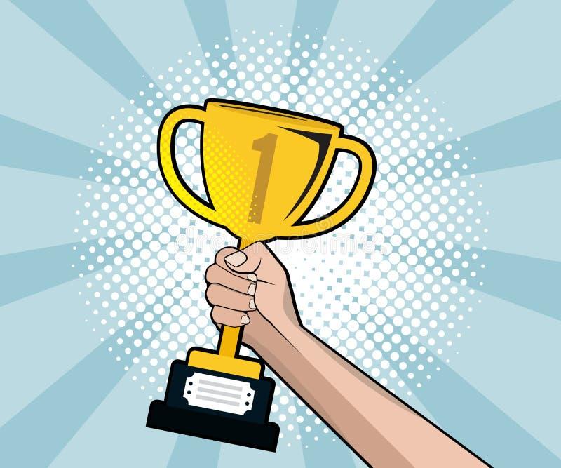 Trofeo astratto dell'oro della tenuta della mano con il fondo del semitono illustrazione vettoriale