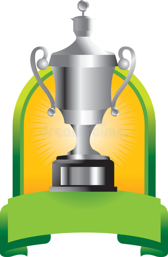 Trofeo in bandiera verde illustrazione di stock