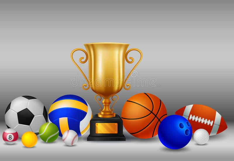 Trofeo con gli sport della palla illustrazione di stock