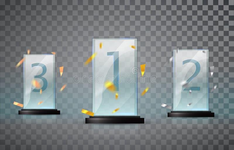 Trofeo de cristal aislado en un fondo transparente Sistema de tazas - primero, segundo y tercer lugar Plantilla premiada Desafío  stock de ilustración