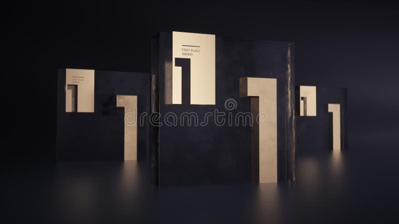 Trofeo de cristal cúbico del premio con el número de oro uno en fondo oscuro libre illustration