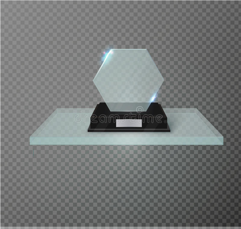 Trofeo de cristal en blanco del premio en un fondo transparente Estante de cristal stock de ilustración