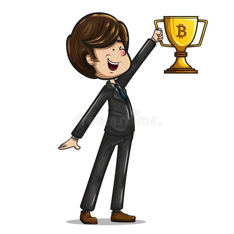 Trofeo de elevación del hombre de negocios con la muestra del bitcoin fotos de archivo
