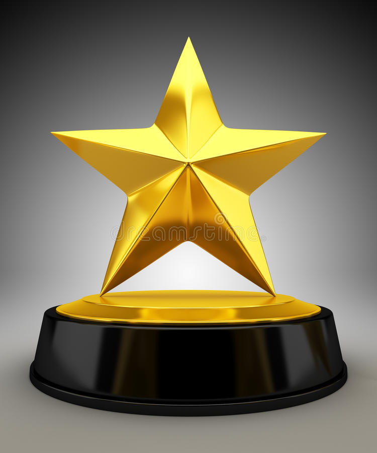 Trofeo de oro de la estrella stock de ilustración