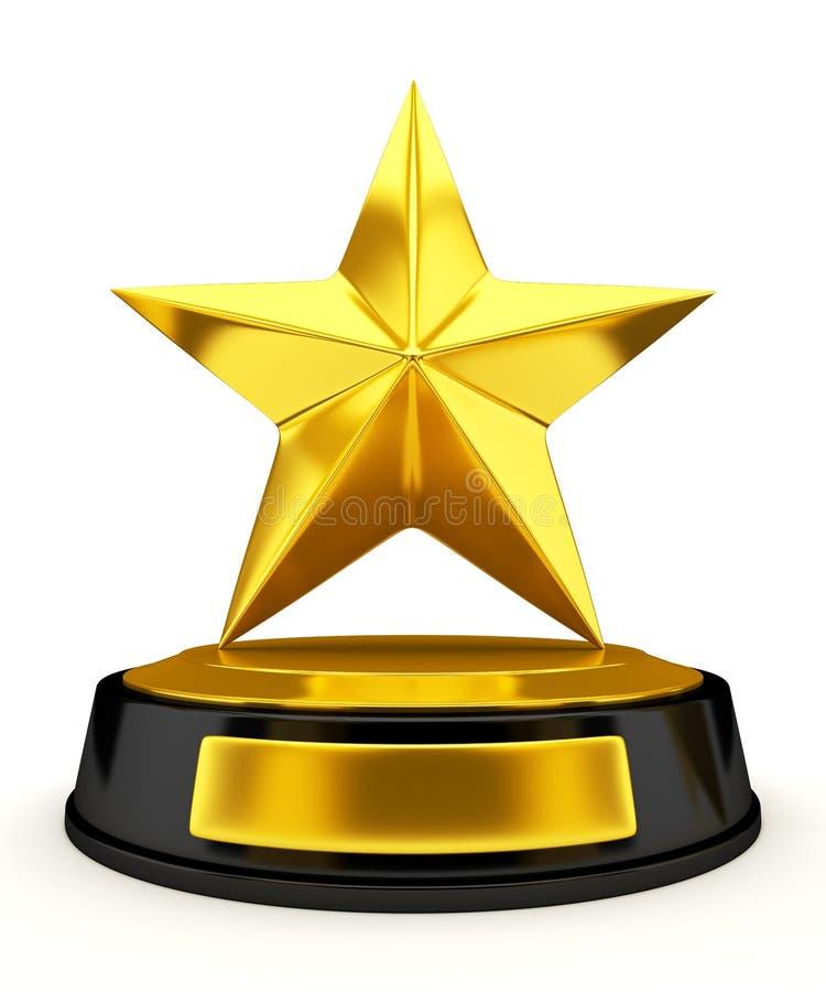 Trofeo de oro de la estrella - 3d rinden ilustración del vector