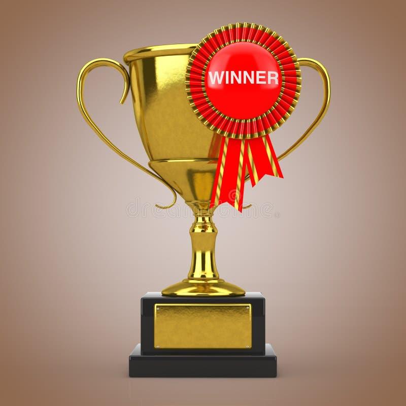Trofeo de oro del premio con el rosetón de la cinta del premio y la muestra rojos del ganador representación 3d stock de ilustración