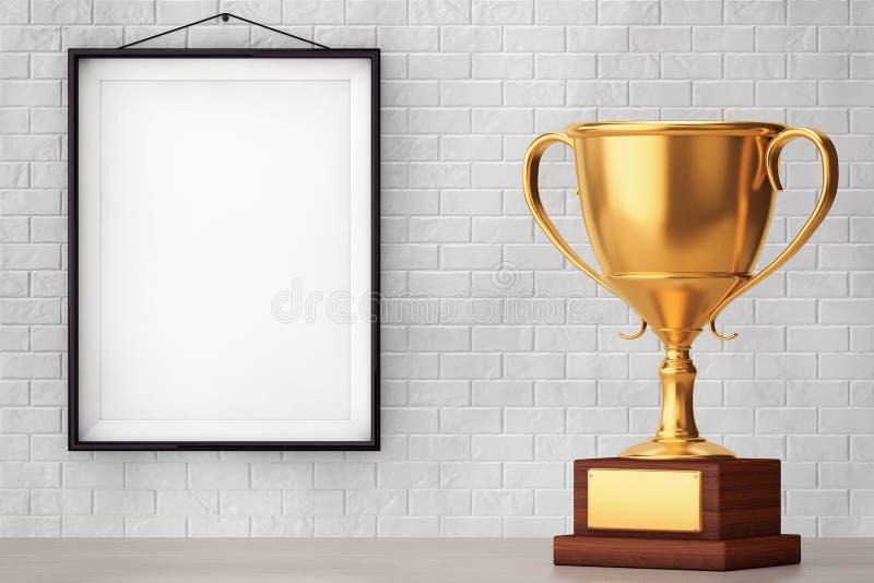 Trofeo de oro delante de la pared de ladrillo con el marco en blanco foto de archivo