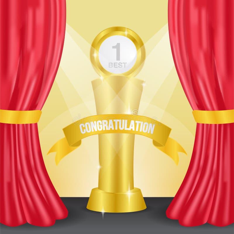 Trofeo de oro en el podio plantilla del ganador del aviso con la cortina roja Caso de éxito Ilustración del vector ilustración del vector