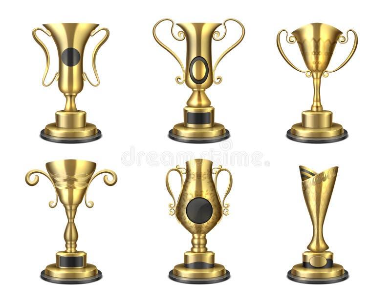 Trofeo de oro Taza aislada realista, plantillas del diseño del premio, premio de la estrella del ganador de la competencia 3D Sis ilustración del vector