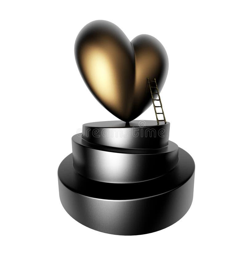 Trofeo del corazón del oro imágenes de archivo libres de regalías