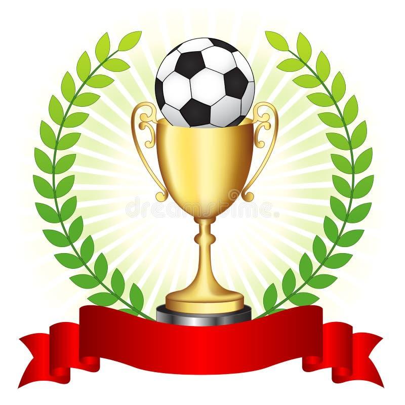 Trofeo del fútbol en fondo que brilla intensamente ilustración del vector