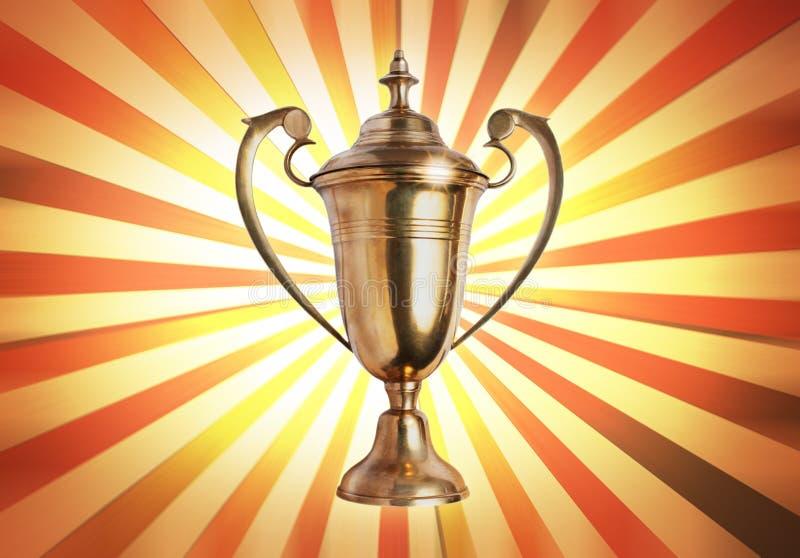 Trofeo del ganador en el papel antiguo viejo de la vendimia foto de archivo