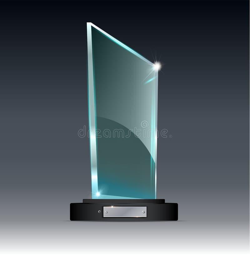 Trofeo del vidrio del premio Ejemplo del vector encendido de un fondo transparente stock de ilustración